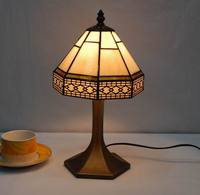 8 inches wide tiffany stained glass shade table lamp