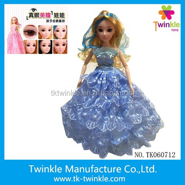 Twinkle toy 30cm real 3D eyes fashion princess doll