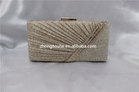 hot sale fashion shining PVC pleat evening bag clutch bag with crystal