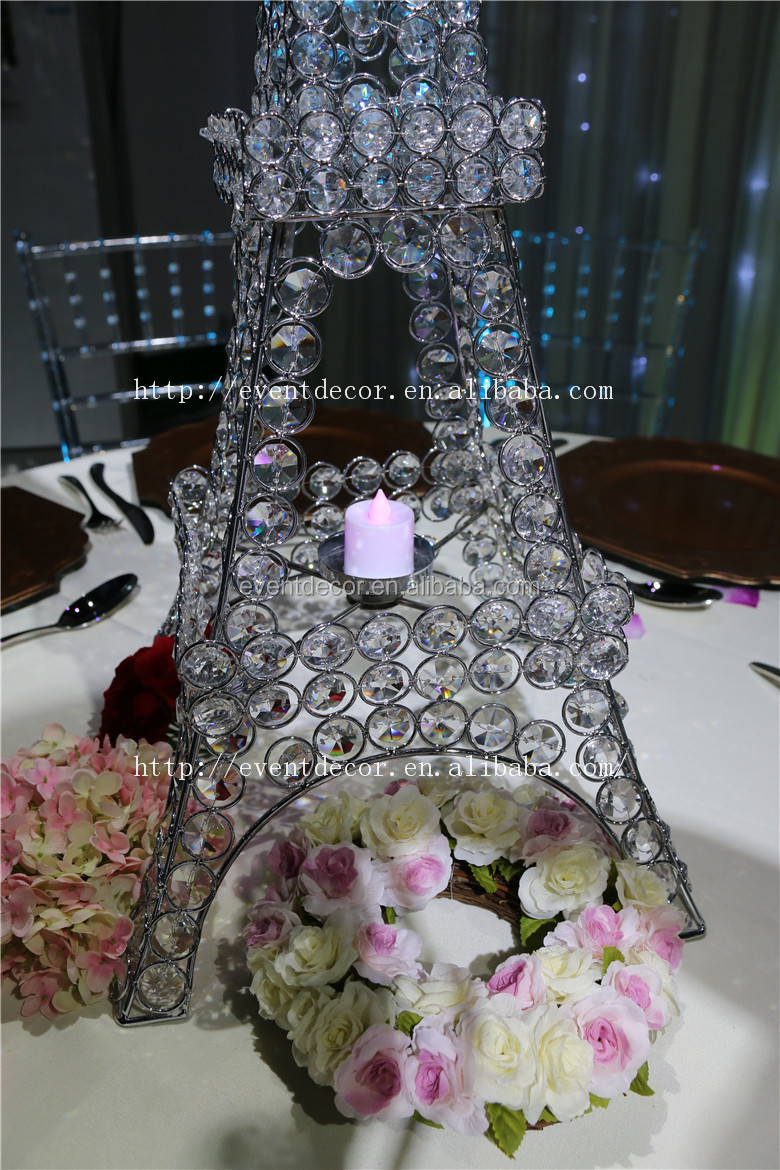 Crystal beaded stand eiffel tower candle holder for Decoration stand