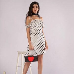 2018 New Wave Dot Sexy Sling Spaghetti Strap Lady Dress