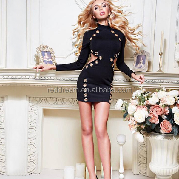 2016 New Black Cut Out Hollow Out Bodycon Long Sleeve Mini Winter Dress Sexy Costumes
