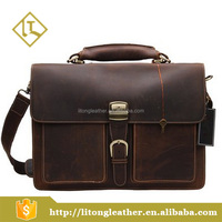 Manufacturers Custom Crazy Horse Men Business Bag Unique Leather Briefcases Made In China