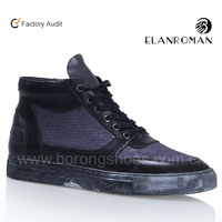 Wholesale pony hair and leather men comfort high top leisure shoes for men sneaker