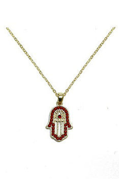 Evil Eye fashion hamsa necklace with black rhinestone and red beads