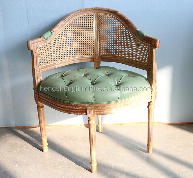 French Bistro Rattan Back Chair Solid Wood Leather Seat Restaurant Dining Chair