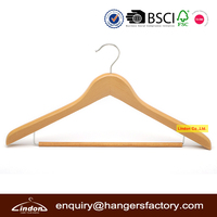 Assessed Supplier LINDON Solid Locking Bar Wood Beech Suit Hanger