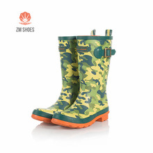 Sex wellies rubber thigh middle high rain boots muck boots with camo print