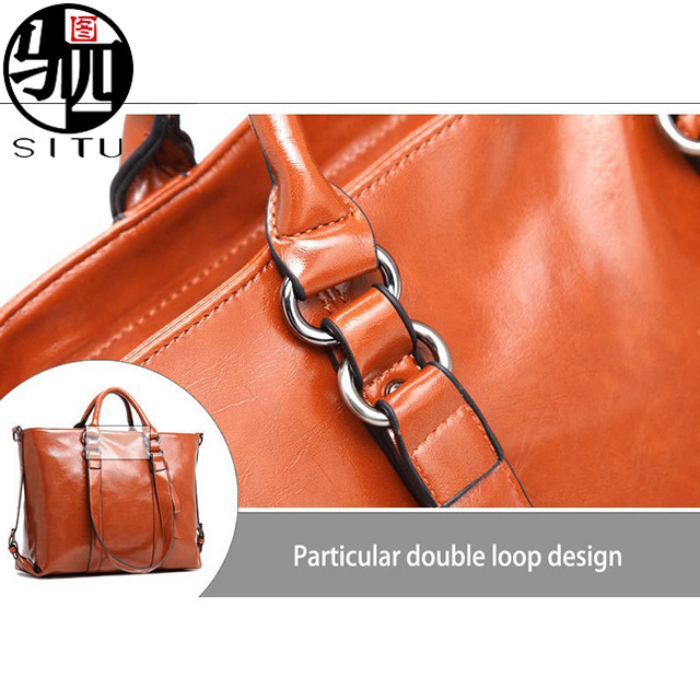 Wax Oil Leather Handbag Lady Tote Bag