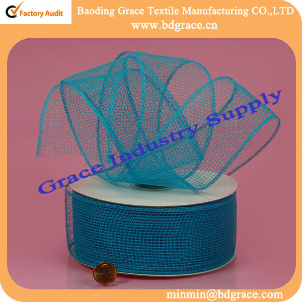 decoration wrapping pp plastic flower print mesh ribbon