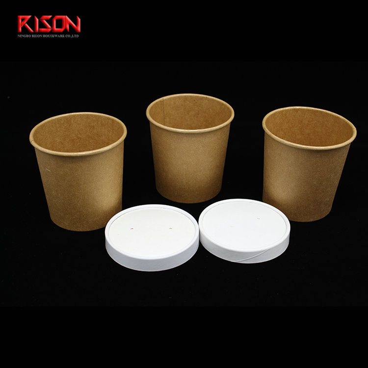 kraft soup cup with paper lid
