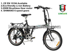 Li-ion battery powered moped with SHIMANO 6 speed gears