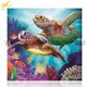 Two sea turtles animal painting diy diamond painting kit resin decoration