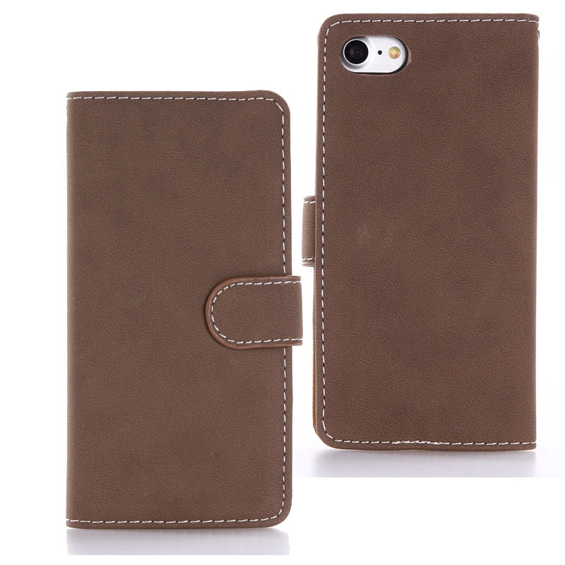 Bulk Buy from China Leather Phone Case for iphone 7 Wallet Case Retro Matte Vintage Folio Flip Cover with Card Holder