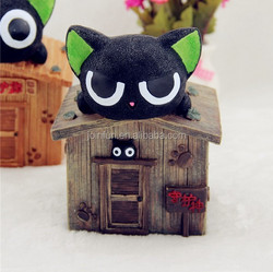 Custom plastic vinyl black cat on the house money box creative decoration money box oem plastic vinyl money box