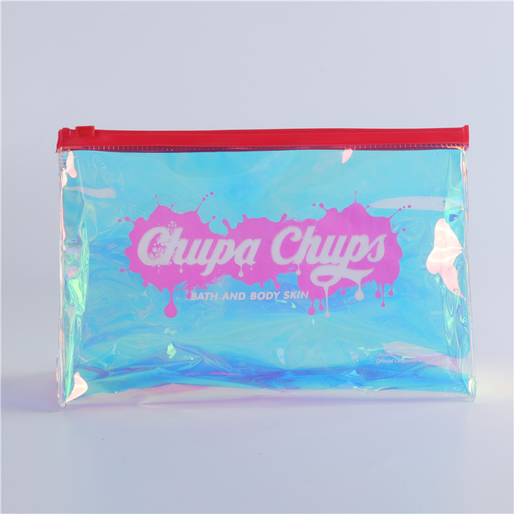 China Manufacturer Printed Logo Holographic PVC Ziplock Bag for Makeup/<strong>Cosmetic</strong>