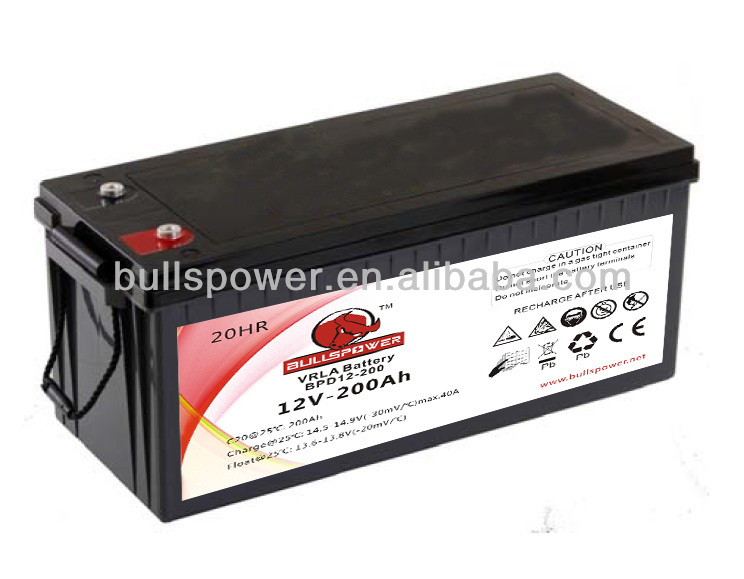 Rechargeable storage battery 12v200ah/agm deep cycle battery 12v 200ah/airsoftgun gel deep cycling batteries