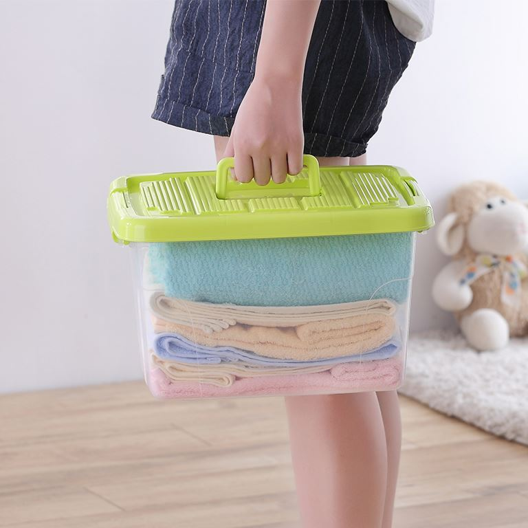 Factory direct plastic useful household living room 50 inch long plastic container tall storage box with lid