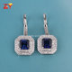 2017 Popular 925 Sterling Silver Synthetic Sapphire Blue Gemstone Earrings for Party