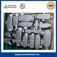 Electrical conduit bodies, conduit outlet body and cover