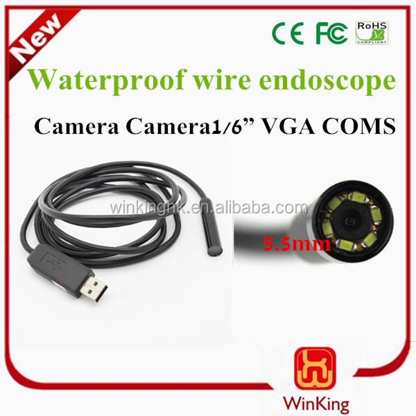 Optional Length 2m 3m 5m 7m 10m 15m 20m USB Waterproof Endoscope 5.5mm Snake with 6LED Support Record Video,Take Photo