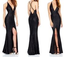 Backless Sequin Womens Sexy Dress Clothes Party Dress Wholesale Clothing