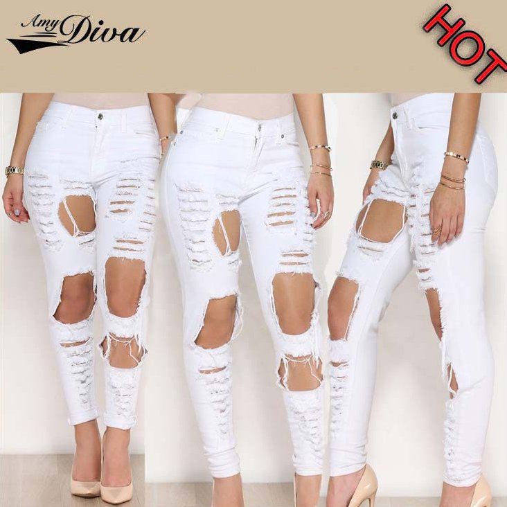 New model fashion women denim jeans trousers wholesale cheap ripped destroy jeans pants for ladies