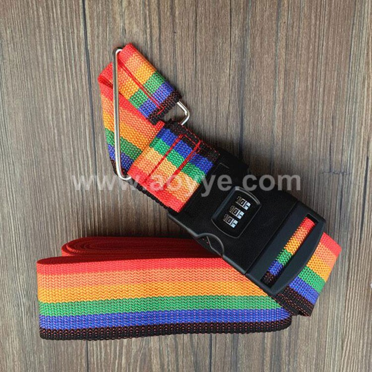 Wholesale customised personalize tag elastic cross luggage strap with secure coded lock
