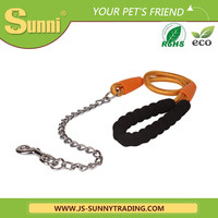 Strong chains leather dog collar shock