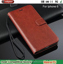High Quality For iPhone 6 Magnetic Buckle Adsorption PU Leather Holster Cases Cell Phone Leather Holster Stand Case for ip6