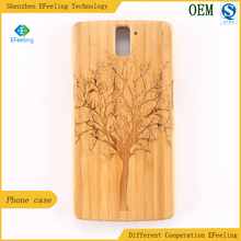 Factory engraved natural bamboo wood + pc back cover case for mobile phone