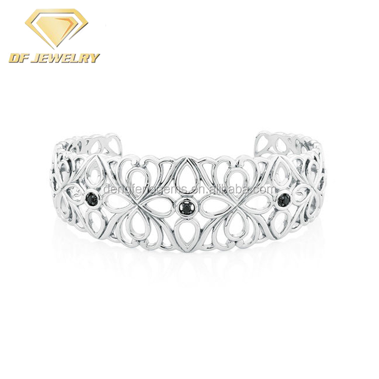 Unique Jewelry Sterling Silver Cuff Bracelet With Black CZ Diamonds