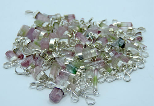 925 Silver Crystal Healing Watermelon tourmaline Pendants