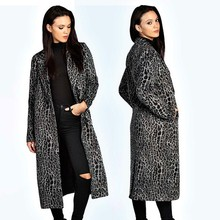 OEM wholesale turn down collar opening closure knee length leopard print maxi trench coat women