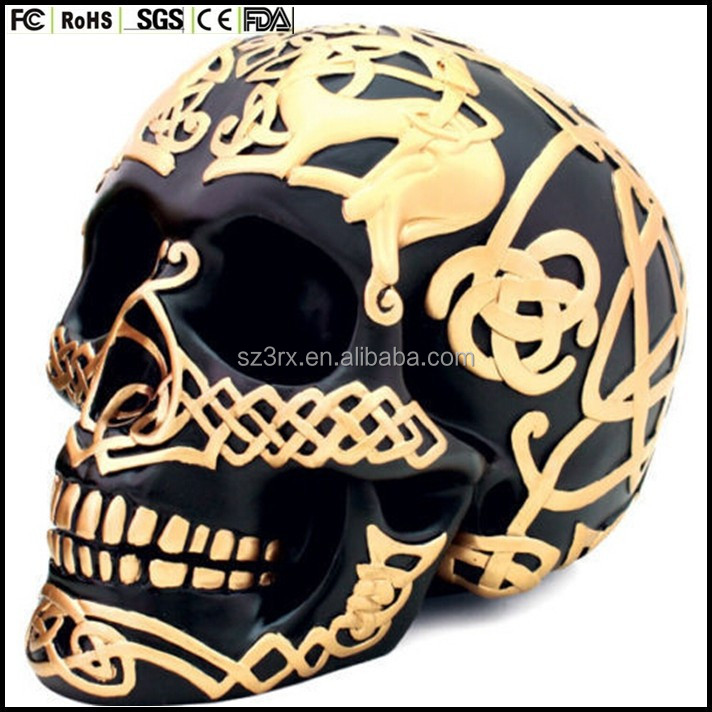 custom made plastic Black & Gold Celtic Skull Statue Human Head Sculpture Figure - HOME DECOR