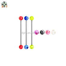 316l Stainless Steel 16G Industrial Barbell with Acrylic balls