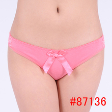 2016 hot sale young sexy girl g-string the hip transparent lace and big bow ladies thong stock women panty
