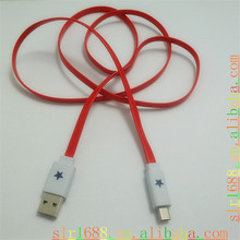 Flat Noodle Type usb lighting cable with Shining Star LED Light