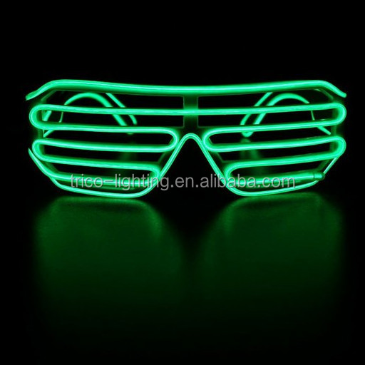 Green EL wire Shutter Shades Party EL wire sunglasses