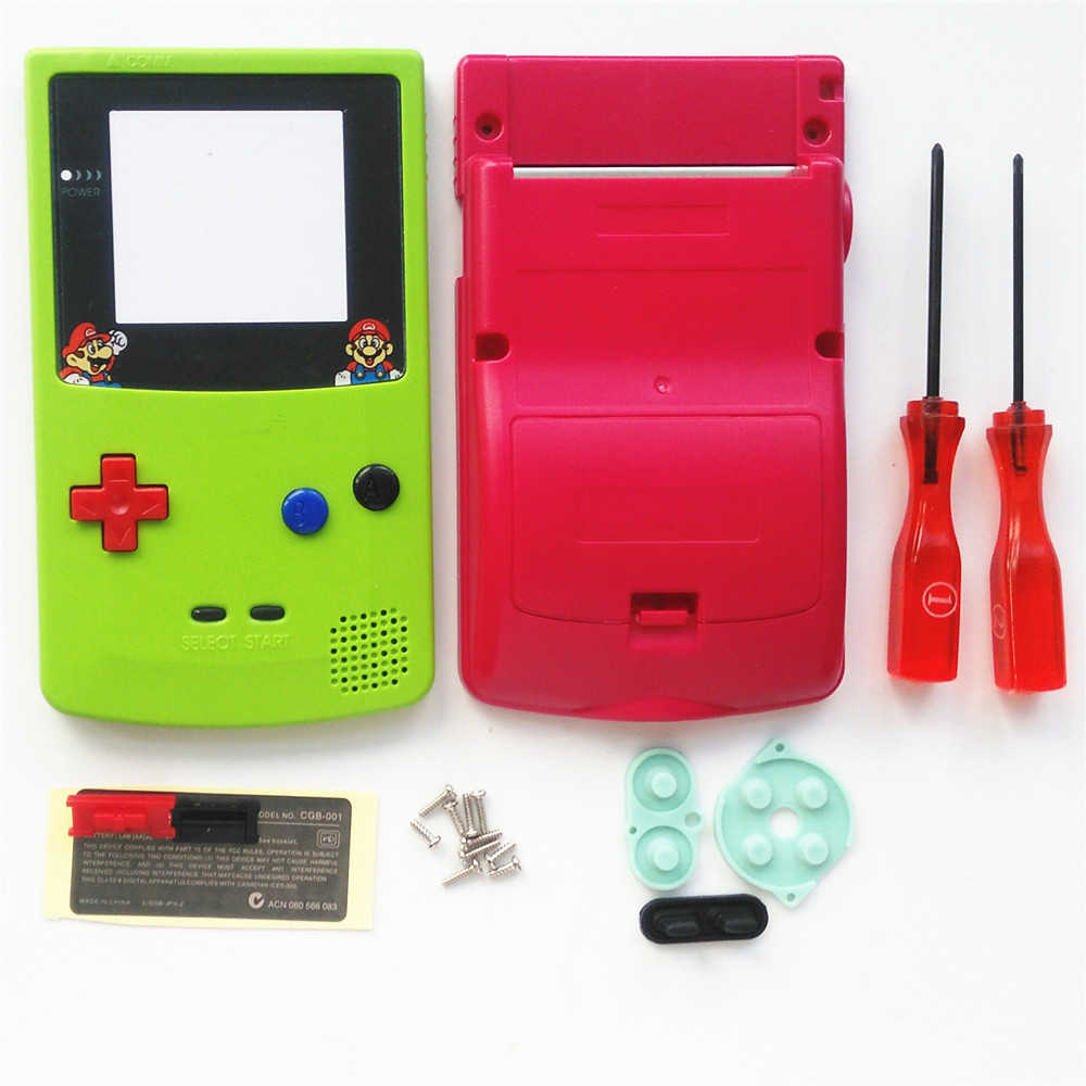 For GBC Mario Version Apple Green & Red Housing Shell For GBC Housing Case Pack
