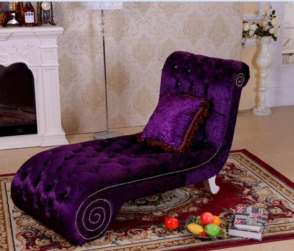 Modern Royal Designs Purple Color Fabric Sex Chaise Lounge Chairs Living Room Chaise Longue