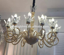 Factory Hot sale luxury decorate home up light flower glass chandelier light modern cone glass pendant light