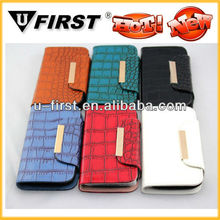 Fashion Fake Crocodile leather case for samsung galaxy S3 with two card slot