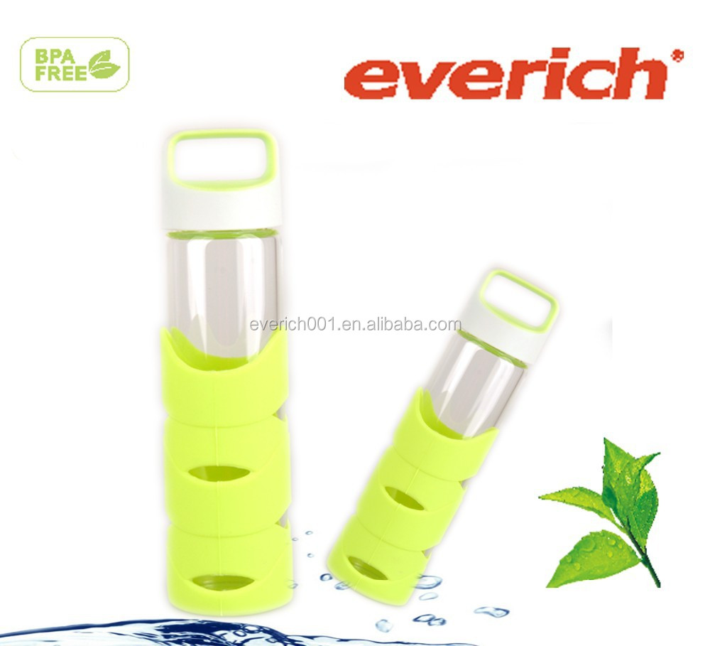 500ml Promotional eco friendly wholesale bpa free glass water bottle with silicone case
