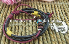 leather wax cord woven leather bracelets with anchor charm multi-strand Europe ocean bracelets