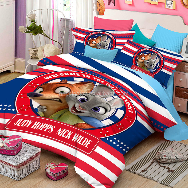 2017 natural 205TC movie character 100% cotton 4pcs twin size kids cartoon quilt cover