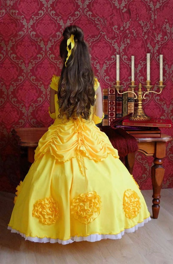 2016 New Arrival Quality Halloween Costumes Beauty and the Beast Cosplay Belle Costume Yellow for children dress