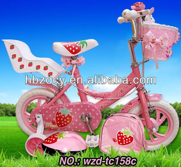 Girls Flower sticker Pink bicycle with doll seat pink color kids bike