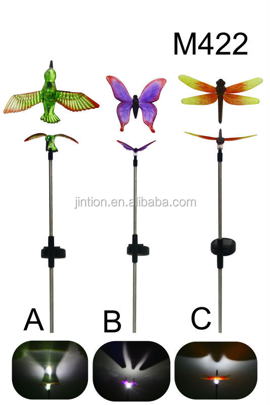 hummingbird dragonfly butterfly color changing LED Solar Stake Light for outdoor garden yard lawn