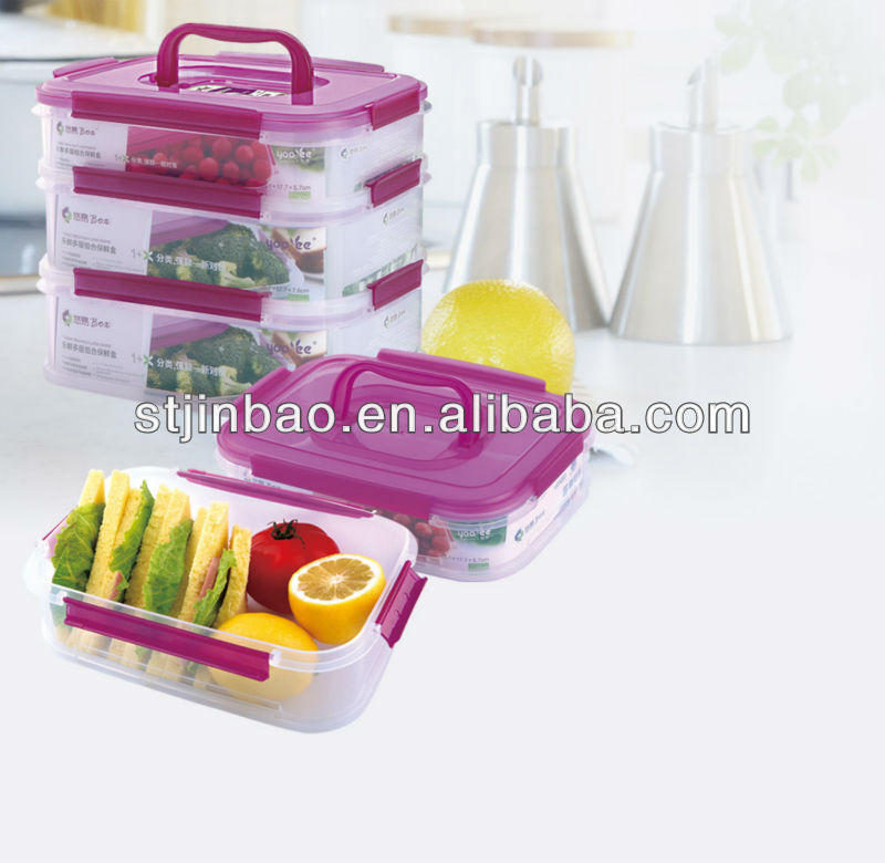 2013 New Item large flat plastic containers with handle